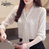 Fashion blouse for women dot wave point chiffon blouse shirt long sleeve women shirts bow V collar office blouse