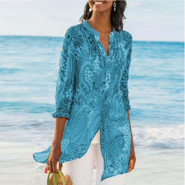 Women Chiffon Printed Bikini Cover Up Button Retro Bohemia Beach Tunics Kaftan Beach Dress Swimsuit Pareos De Playa Mujer
