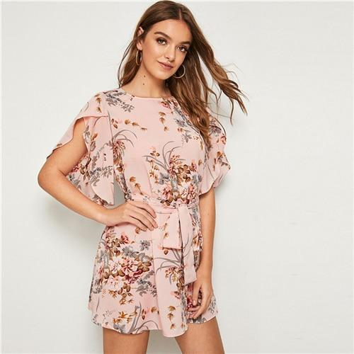 SHEIN Pastel Pink Split Sleeve Self Belted Floral Print Dress Women Summer Boat Neck Bohemian Ladies Straight Short Dresses