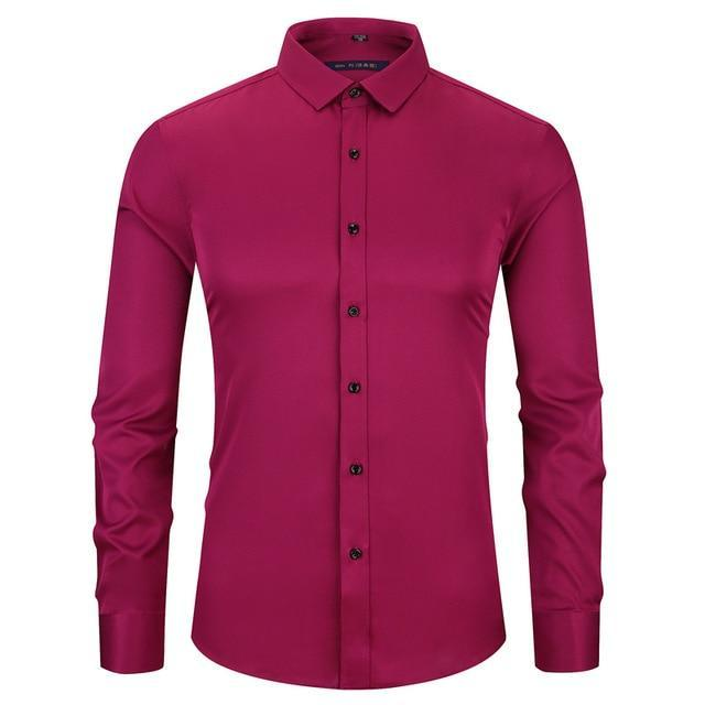 Free shipping Bamboo Fiber Men Dress Shirt Red Wine Elasticty Slim Fit Long Sleeve Male Casual Shirt High Quality Soft Smooth Breathable 4XL