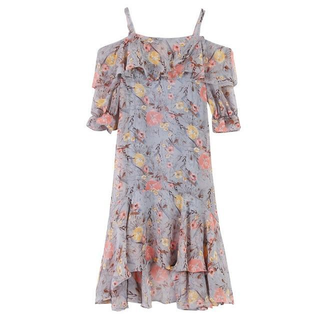 Summer Women Elegant Korean Floral Print Chiffon Slip  Beach  Dress Autumn Sexy Boho Bohemia Ruffle Clothing Dresses XXL