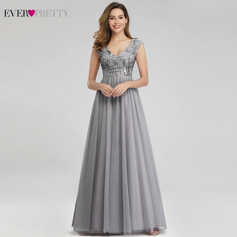 Elegant Grey Prom Dresses Long Ever Pretty A-Line V-Neck Sexy Sequined Formal Party Gowns Vestidos Largos De Fiesta