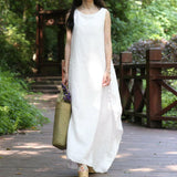EaseHut Ethnic Vestidos Summer Women Baggy Sleeveless Beach Dresses Ladies Casual Loose White Long Maxi Dress Plus Size