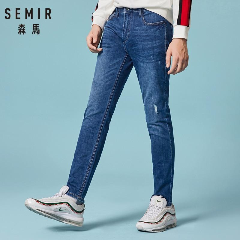 Free shipping SEMIR  autumn New style men's casual JEANS High Quality Slim Fit Trousers elastic men Jeans Fashion Classic Denim Jeans