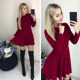 Casual Long Sleeve Dress Women O Neck A Line Short Mini Dresses Autumn Winter Basic Solid Party Dress  Black Red