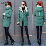 Fashion Women Winter Hooded Coat Long Slim Warm Jacket Down Cotton Padded Jacket Outwear Parkas
