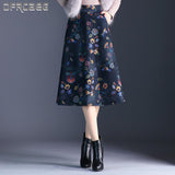 Autumn Winter Floral Plus Size Thicken Woolen Skirts Women Slim Fit A-Line Mid Female Skirt Casual Wool Skirt