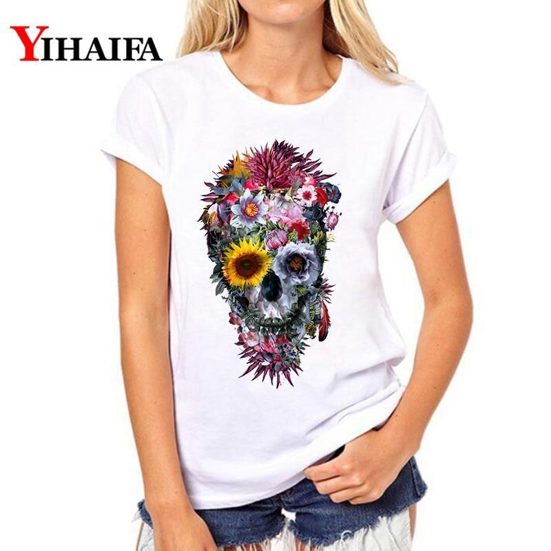 Female T-shirt Summer Funny Floral Skull 3D Print T Shirt Women Plus Size Fashion Clothes White T-shirts Tops
