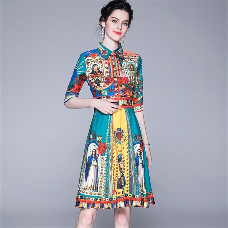 Fashion Designer Runway Dress Summer Women's Short Sleeve Elegant Floral Print Bow Casual Dress plaid