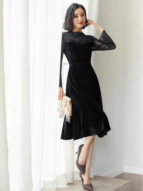 Splicing velvet tall waist dress long-sleeved horn sleeve render little black dress online store for sale
