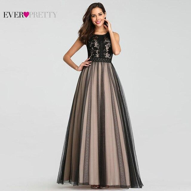 Black Prom Dresses Ever Pretty Elegant A Line O Neck Sleeveless Lace Long Formal Party Guest Gowns Plus Size Robes De Bal