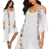 Large Size Robe Beach Dress Long Cover Up Swimsuit Cover-up Women Ups White Bathing Suit Maxi Wear Beachwear Crochet Flower