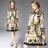 Long sleeve bow Runway Dress Women's Quality Bow Collar Baroque Printing Casual yellow Dress Party