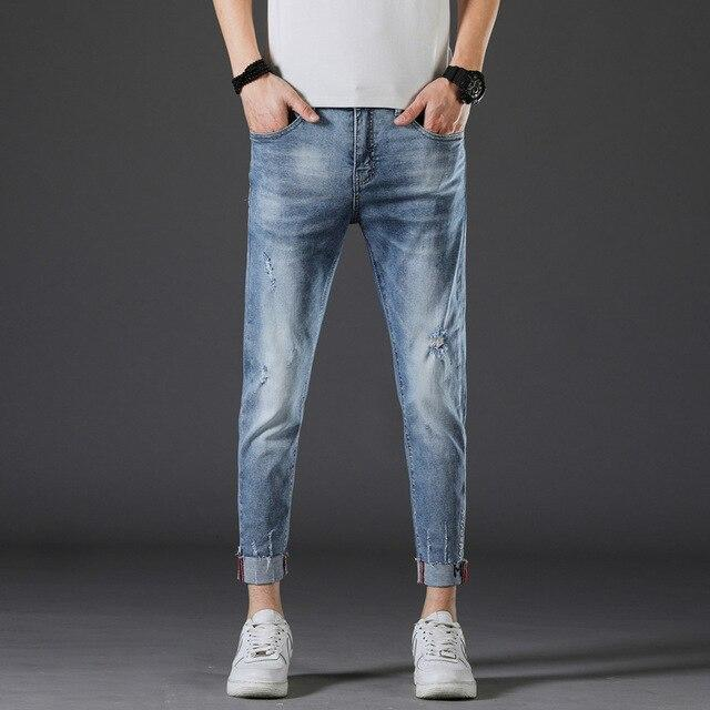 Free shipping Stretch Jeans Men Skinny Famous Brand Ripped Denim Pants Gray Frayed Distressed Cuffs Cropped Jeans Boys Students Joggers Jeans