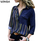 Women's Blouse Button Down V neck Stripe Shirts VONDA Fashion Long Sleeve Casual Ladies Top XXXXXL Plus Size Tunic Tops