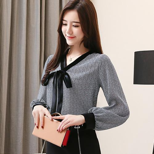 Women blouse shirt Fashion Casual Bow long sleeve shirt women blouses Office lady plus size blouse women tops