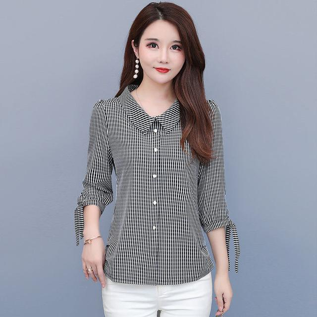 Women Spring Summer Style Blouses Shirts Lady Casual Half Sleeve Peter Pan Collar Plaid Printed Tops