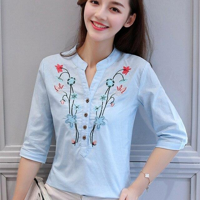 Fashion V-Neck women blouse shirt Half sleeve floral embroidery white women's clothing OL blouse women tops