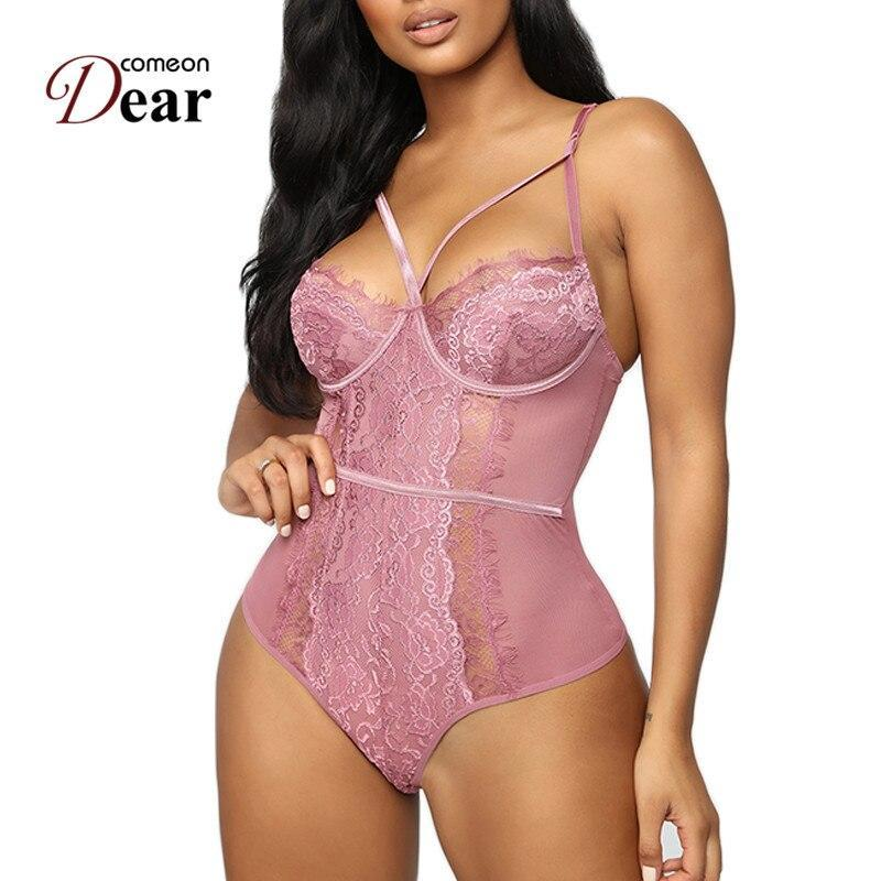Comeondear Lace Bodysuit Sexy Plus size Teddy Lingerie Outfit Open Cup Body Mujer Transparent Sleeveless Women Jumpsuits Sheer Teddies