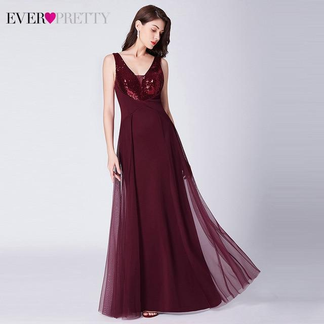 Sparkle Evening Dresses Long Ever Pretty A-Line V-Neck Ruched Elegant Burgundy Evening Gowns Abendkleider Lang