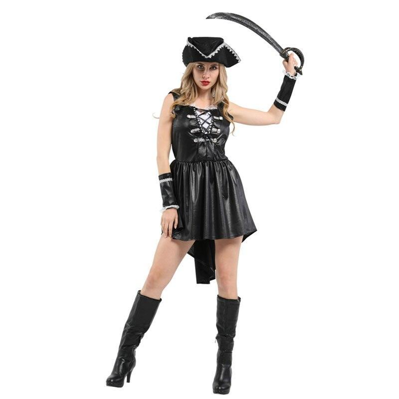 Adult Women 3 Piece Black Heart Captain Pirate Costume Halloween Purim Carnival Masquerade Mardi Gras Party Dress