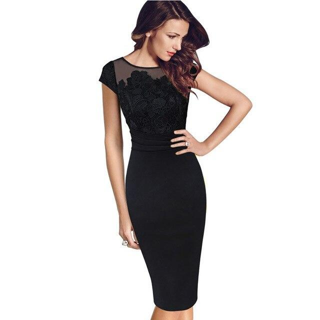 Women Business Office Work Little Black Dress  Summer Tight Sheath See Through Sexy Party Casual Bodycon Woman Pencil Dress