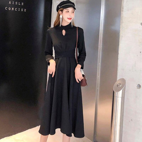 Autumn Vintage Women dress Full Sleeve Slim Little Backing Carefully Dresses Black