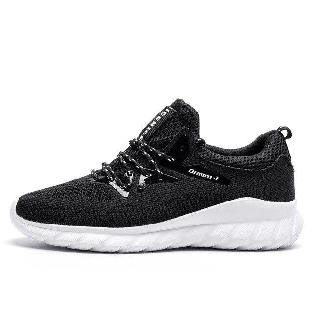 The New Spring Brand Fashion Men Casual Shoes Light Breathable Mesh Shoes Men Sneakers Lace Up white black Chaussure homme