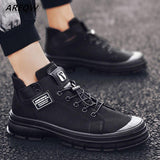 Canvas Shoes Men Casual Shoes Male Wear-resistant Comfortable Round Toe Lace-up Sneakers