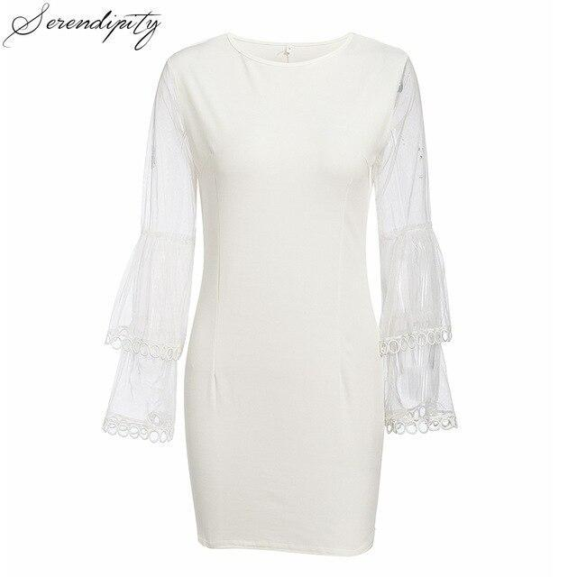 SRDP Sexy White Lace Short Party Dress Women Flare Sleeve Femme Dress Feminino Bodycon Dresses Vestidos