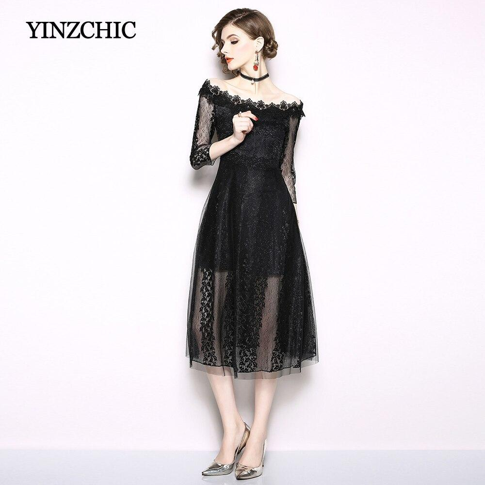 Fashion Woman Autumn Lace Dresses Slash Neck Sexy Womans Midi Party Dress Black White Lace Dresses For OL Casual Street
