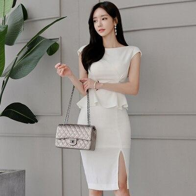 Fashion elegant women comfortable summer backless sun dress new arrival temperament party cute work style white pencil dress