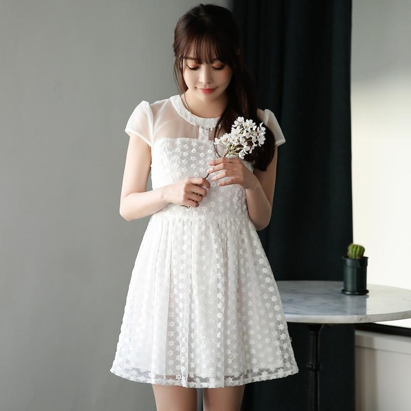 Fashion Princess Elegance Summer Casual Lace Chiffon Sleeveless Lady Dresses O-neck A-Line Voile Short Sleeve White Dress