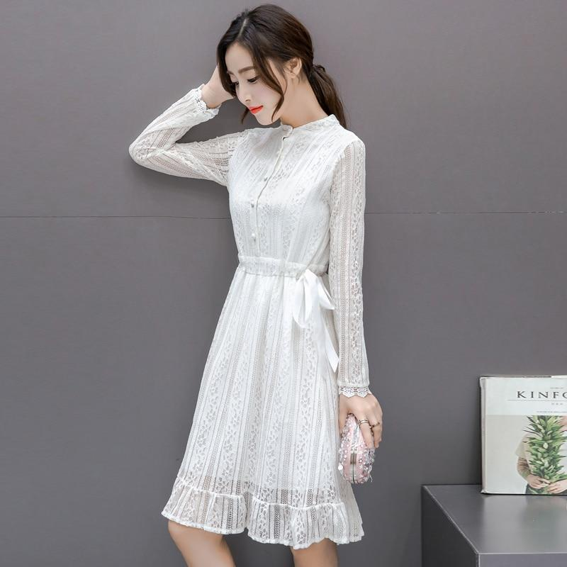 Autumn Fashion Women dress Lace Slim In Long Dresses White Black Online store for sale
