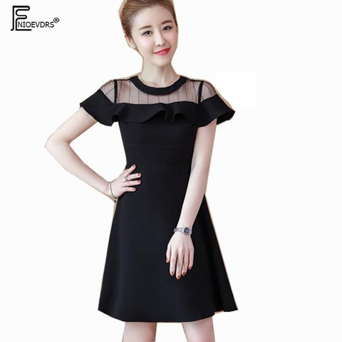 A Line Dresses Hot Sale Women Summer Slim Short Sleeve Cute Ruffled Work Party Patchwork Black Sheer Little Black Dress