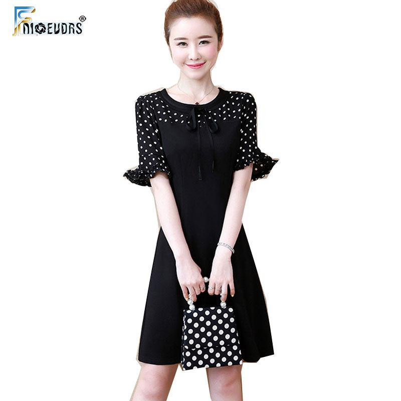 Flare Sleeve Dresses Woman Fashion Summer Short Sleeve Cute Sweet Patchwork French Little Black Design Polka Dot Dress