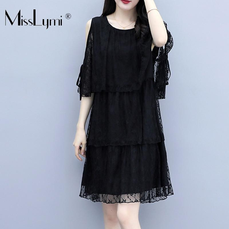 XL-5XL Plus Size Women Elegant Lace Dress Summer Sexy Off Shoulder Loose Casual Cascading Ruffle Ladies Mini Dresses Black