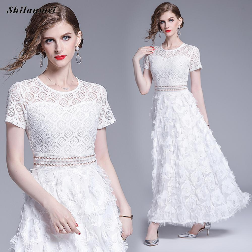 Summer White Dress Short Sleeve Lace Maxi Dresses O Neck Hollow Out A Line Evening Party Club Elegant