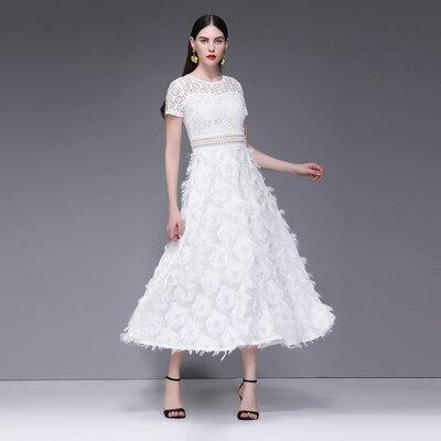 Fashion Brand Designer Runway Dress Summer Women Short Sleeve White Feather Lace Hollow Out Patchwork Maxi Party Dresses