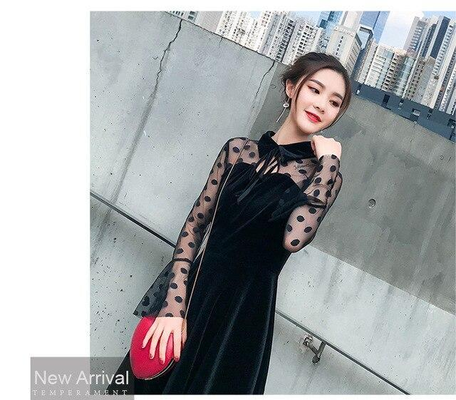 Autumn new velvet black dress Patchwork Lace Turn-down Collar Sexy A-Line Fashion dress