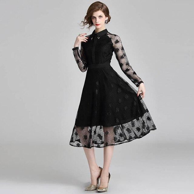 Women fashion designer autumn elegant slim sexy casual party runway lace office work long sleeve black dress