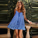 Women Sexy Flower Print Retro Loose Dress Backless Ruffle Party Club Beach Dress Seaside Holiday Dress Plus Size With Tassel