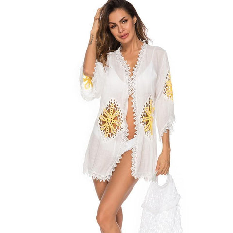 Beach Dresses For Women Beachwear Cover Up Bathing Suit Bath Clothes Long Dress Sundress New Three Piece Hollow Joining