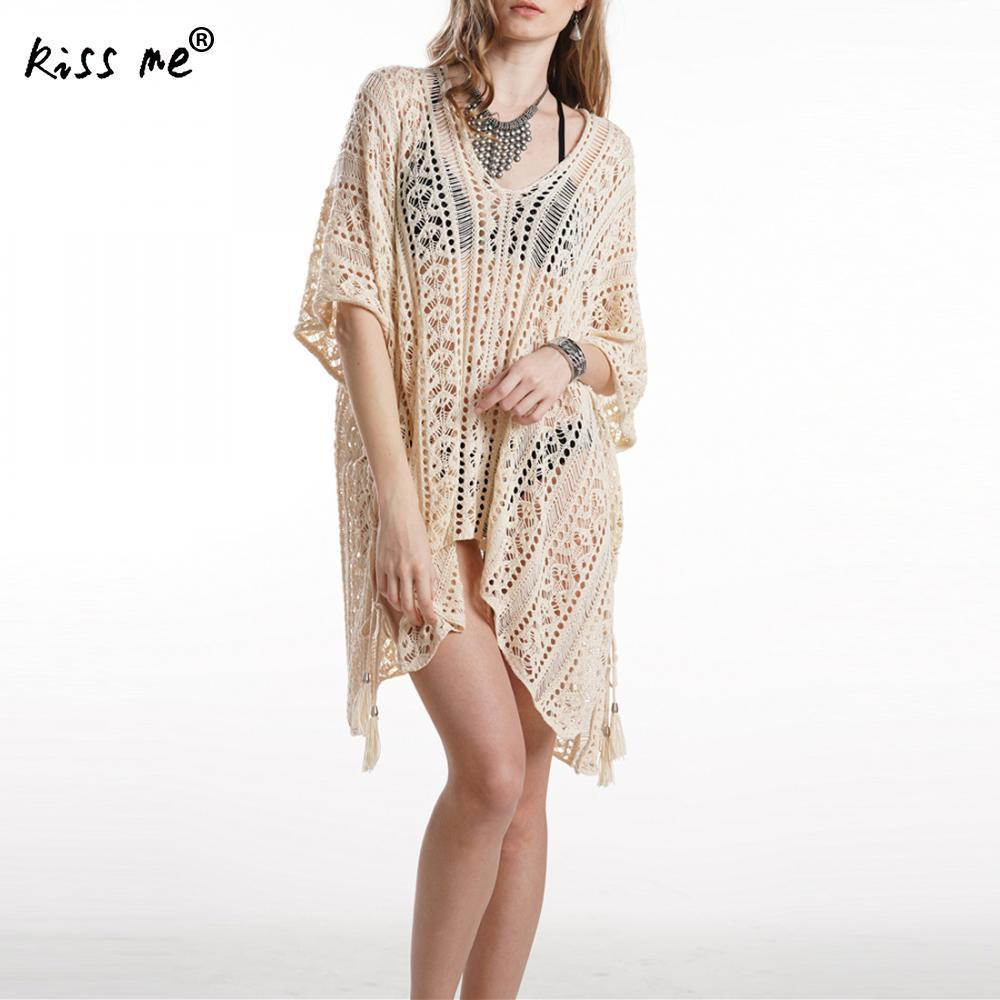 Sexy Hollow Beach Cover Up Swimsuit Women Beach Dress Transparent Swimwear Summer Ladieswear Beachwear Tassels Cover-Ups