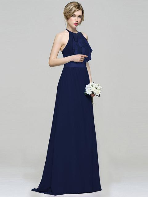 Skyyue Solid Bridesmaid Dress Sleeveless Ruffles Boat Neck Bridesmaids Dresses for Women Backless Robe Demoiselle D Honneur C443