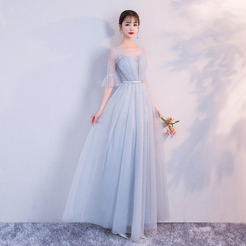 Blue Fashion Tulle Wedding festival Elegant Charming Bridesmaid Dresses