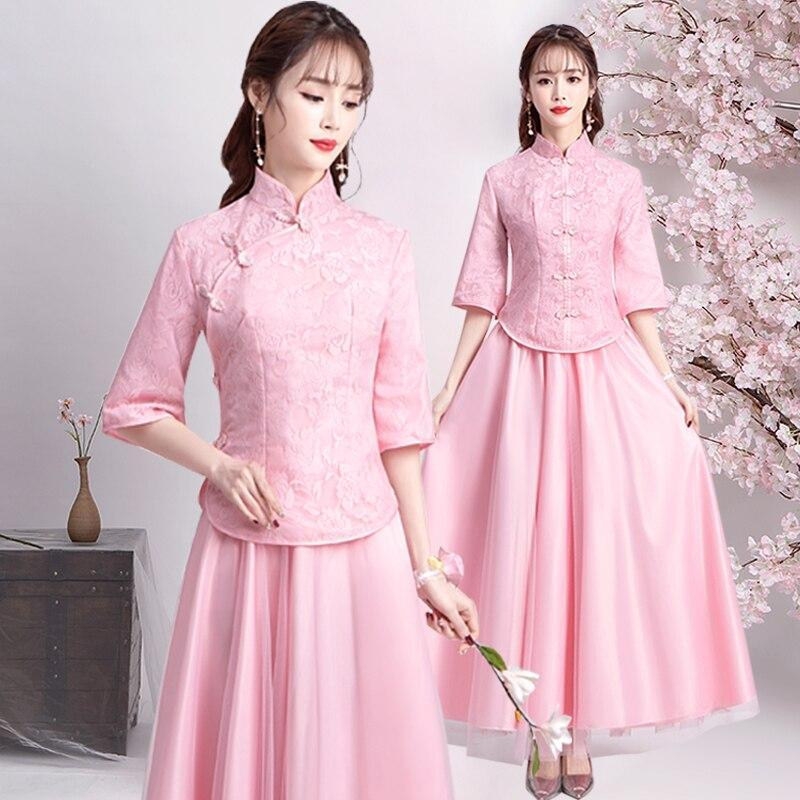 Two piece A-line Lace Bridesmaid Dresses Long Formal Elegant Simple Women Formal Party Gowns Many Colors