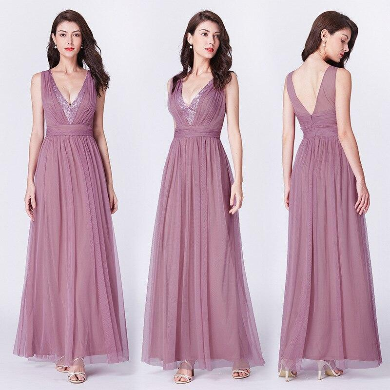 Elegant Fairy Tulle Evening Dress Double V-neck Sequins Sleeveless Pleated Dress Floor-length Pretty Forever Dress