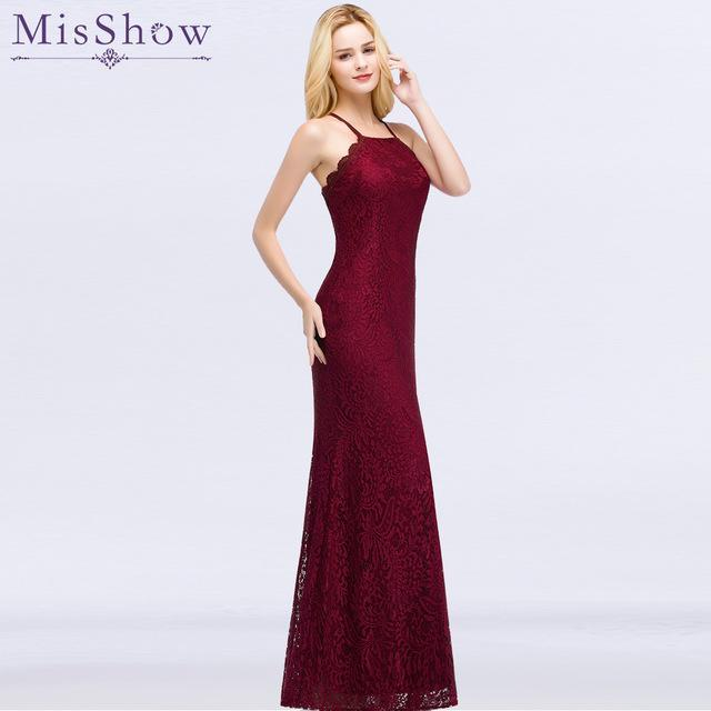 New Elegant Long Prom Dresses Floor Length Burgundy Party Dress Halter Lace Evening Dress Robe Soiree Mermaid