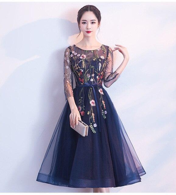 Women Navy Blue/Champagne Short Prom Dresses Sexy Gary Prom Dress Scoop Tulle Embroidery Lace Up Evening Party Gown